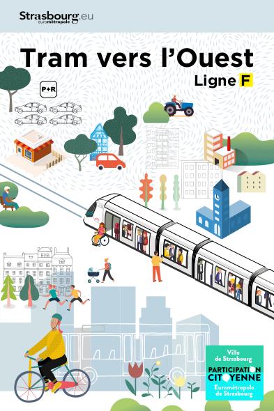 Affiche montrant le tram au milieu d'un espace urbain très boisé